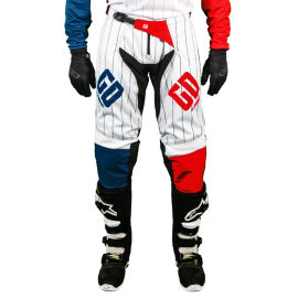 Pantalon Motocross MX Enduro Quad  GD20 bleu blanc rouge Pourcel