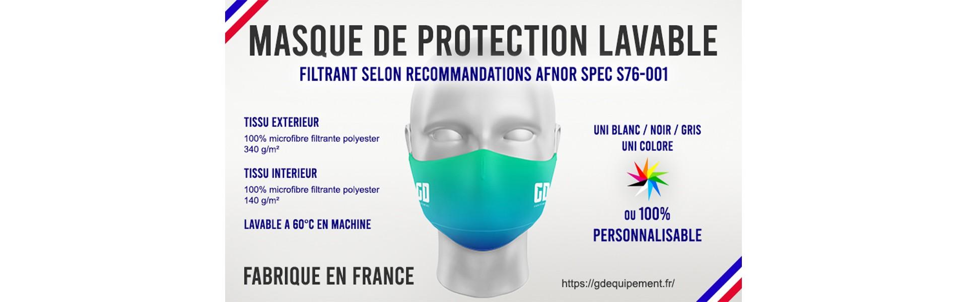 Masque de protection lavable machine
